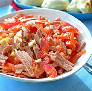 This classic German recipe is an easy side dish to throw together, requires no cooking, and is bursting with flavor. Omi's German Bologna Salad combines ring bologna, red pepper, onion, tomato, and cheese in an oil and vinegar dressing.
