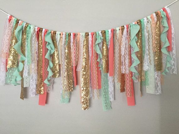 Coral Mint & Gold Sequin Curly Garland by ohMYcharley on Etsy