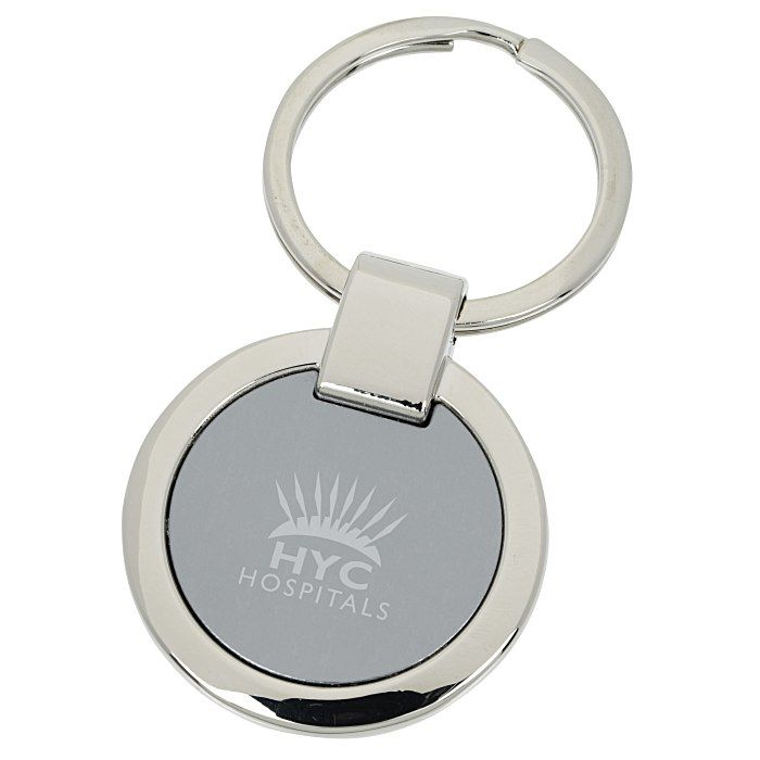 Personalized Key Chain 2 19 35 Set Up Fee Shiny Nickel Ring Encircles A Brushed Aluminum Plate With Gunmetal Fini Custom Key Ring Key Rings Custom Keychain