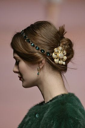 Gorgeous hair accessories seen on the Dolce & Gabbana runway. London Fashion Week: Catwalk Hair Trends To Try Now