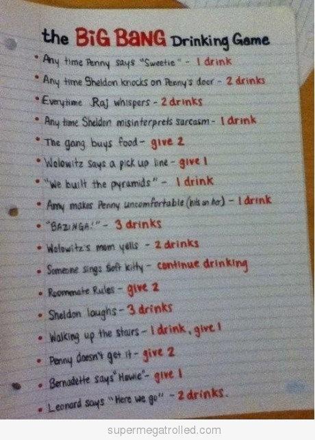 BBTIdeas, Drinking Games, Bangs Drinks, Drinks Games, Big Bang Theory, Big Bangs Theory, Theory Drinks, Funny, Things