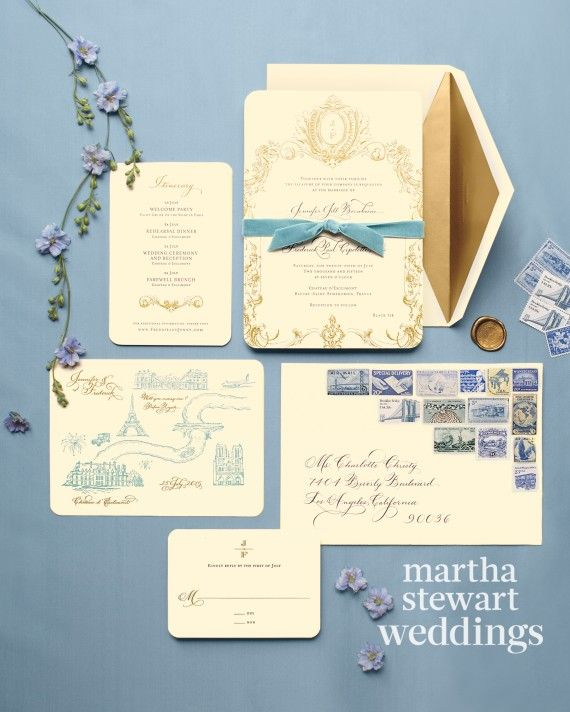 The invitations by Jonathan Wright and Company featured rounded edges and a mix of black letterpress and gold engraving. An illustrated map detailed the capital and its surroundings. Everything was bound with a velvet ribbon and mailed in a calligraphed envelope with vintage stamps.