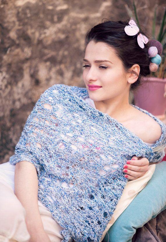 hand knitted lightweight wrap shawl  summer by BonniesCinematheque, €49.00