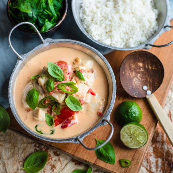 Fijian Coconut Fish with Tomato, Spinach and Rice by Nadia Lim | NadiaLim.com