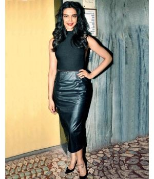 Celebrity Style-Deepika Padukone Gleam leather skirt