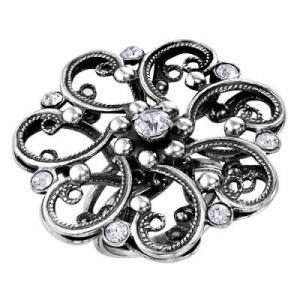Кольцо 423 Основа - мельхиор, серебрение Вставка - хрустальное стекло