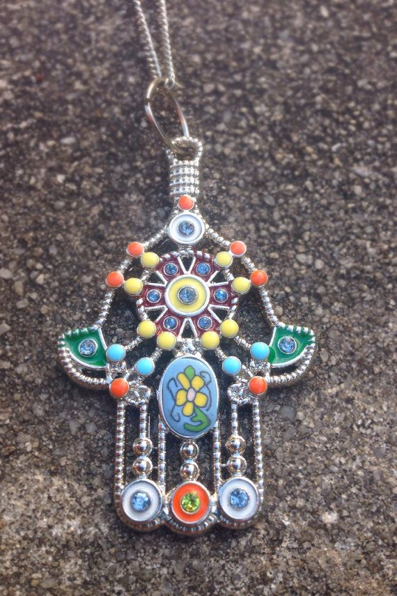 Colorful Hasma Hand Necklace on Etsy, $18.00