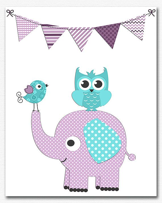 Purple aqua and teal baby girl Nursery Art Print  by SednaPrints, $13.50