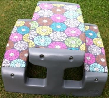 (From Caroline's Crafty Corner) - great idea for upcycling an old faded plastic kids table. Take the pieces apart, spray paint the ends, then staple-gun patterned fabric and clear vinyl to the main pieces before reassembling.