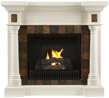 Cameron Faux Slate Fireplace - Gel Fireplace - Ventless Fireplace - Corner Electric Fireplace - Electric Fireplaces - Media Fireplace - Fireplace Media Center - Electric Fireplace Media Center - Corner Fireplace | HomeDecorators.com