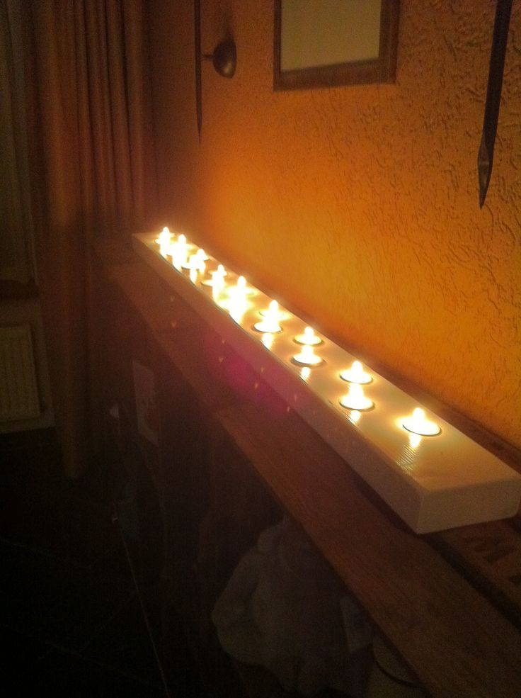 Diy waxine lichtjes houder van oude balk