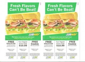 Subway coupons
