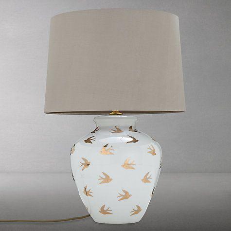 Buy India Jane Swallows Jar Lamp Base, White / Gold Online at johnlewis.com
