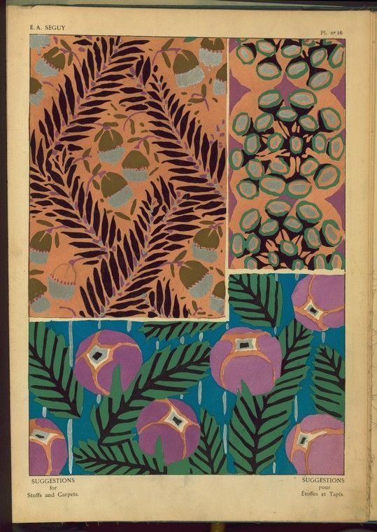"""again with the awesome colors.  """"Three plant form designs"""", Séguy, E. A, Pochoir prints"""
