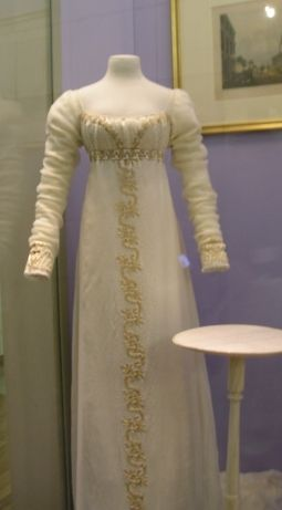 A lovely white and gold Regency gown that I studied at the Victoria & Albert Museum.