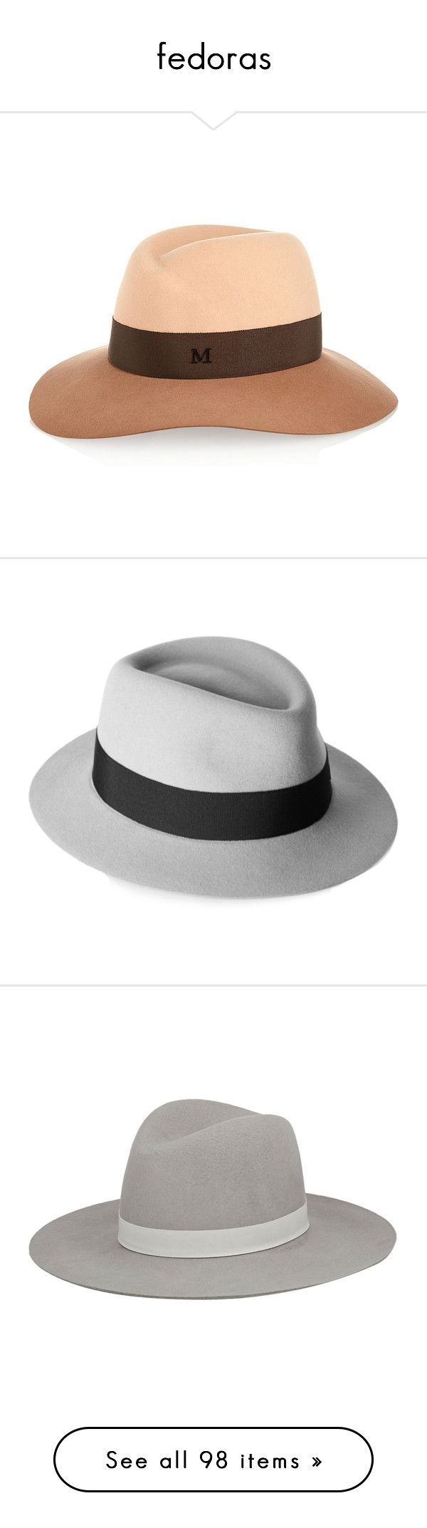 """""""fedoras"""" by victoriaxo97 ❤ liked on Polyvore featuring accessories, hats, maison michel, felt fedora hat, two tone hat, rabbit felt hat, felt hat, light gray, rabbit fur hat and maison michel hats"""
