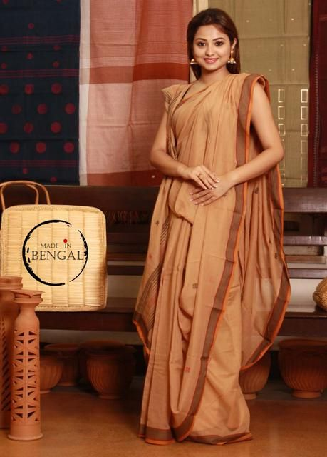 Handwoven Dobi Naksha Bengal Cotton Saree from Madeinbengal.in