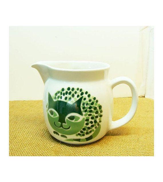Arabia of Finland  Kaj Franck  Pitcher  green Cat Design