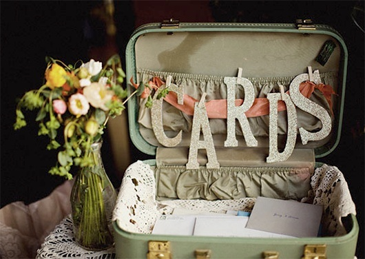 vintage suitcase wedding card holder/wishing well