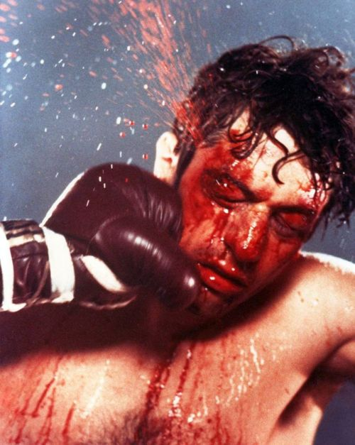 Raging Bull- close up shot.  movement from glove to face