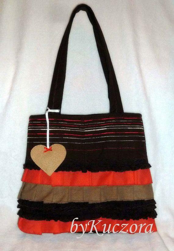Romantic, brown-coral ruffle bag, art bag, big size bag, shoulder bag, boho bag