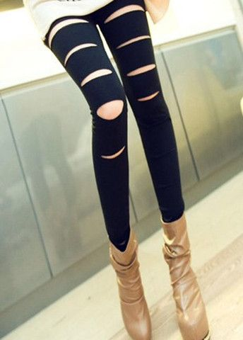 Particular Pierced Black Ankle Length Leggings for Female – teeteecee - fashion in style