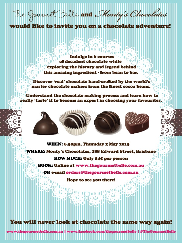 Indulge in 6 courses of decadent chocolate while exploring the history and legend behind this delectable ingredient - from bean to bar! Discover 'real' chocolate made by the world's master chocolate makers from the world's finest cocoa beans. Understand the chocolate making process and learn how to really 'taste' chocolate so that you can become an expert in choosing your favourites. Only $45.00 per person! #brisbanefoodevent #brisbaneevents #chocolatetasting #chocolate
