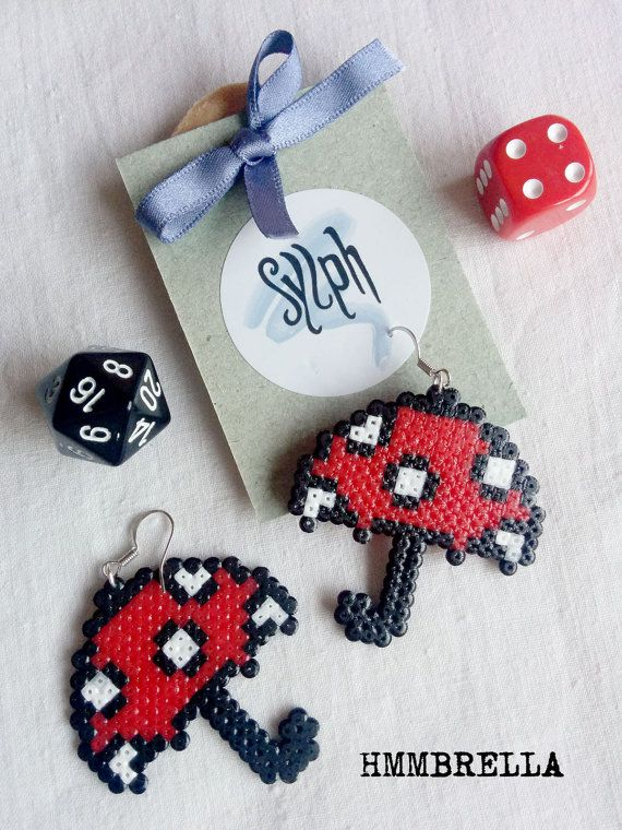 Earrings made of Hama Mini Beads - Hmmbrella Various colors available. Just ask! These handmade perler beads may differ slightly from the