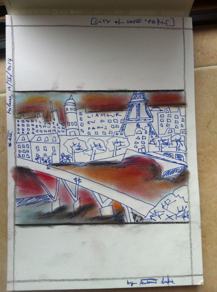 Paris - drawing using ink and pastel colours