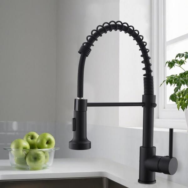 Boyel Living Stainless Steel Faucet Single Handle Faucet Pull Down Sprayer Kitchen Faucet Black Bm289b 45 The Home Depot Black Kitchen Faucets Kitchen Faucet Stainless Steel Faucets