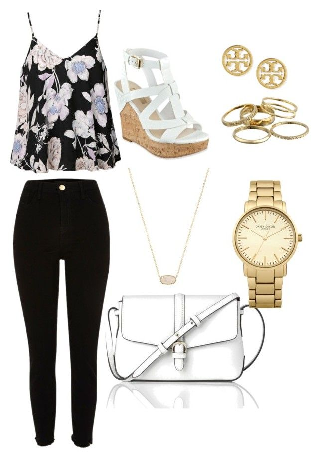 """Gold and Floral Springtime"" by erinfrankland ❤ liked on Polyvore featuring Ally Fashion, River Island, GUESS, L.K.Bennett, Topshop, Kendra Scott and Tory Burch"