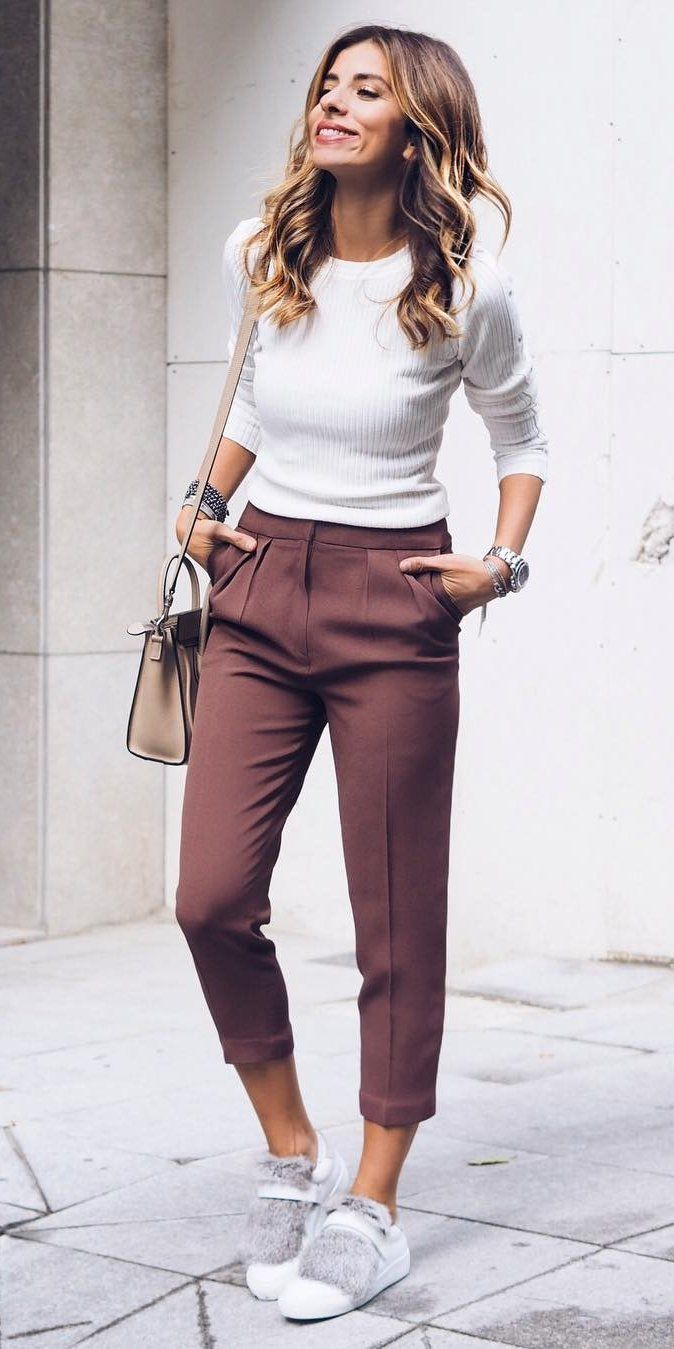 #fall #outfits ·  White Top + Purple Pants + White Sneakers