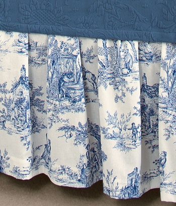 Lenoxdale Toile Gathered Bed Skirt 20 Drop Country Curtains.com ...