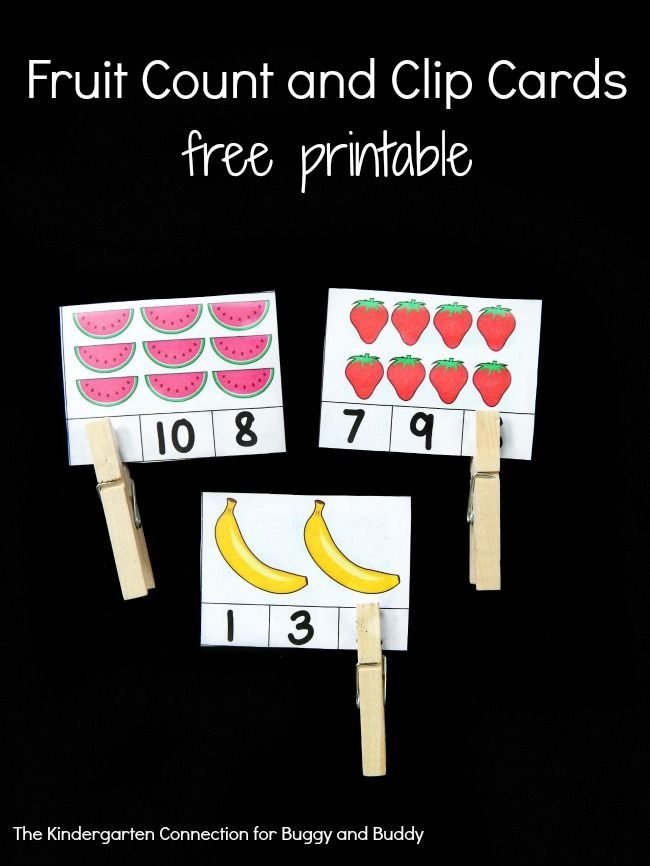 Free Printable Math Activity for Preschool and Kindergarten: Fruit Count and Clip Cards- perfect for practice with counting, one-to-one correspondence, and fine motor skills. ~ The Kindergarten Connection for Buggy and Buddy