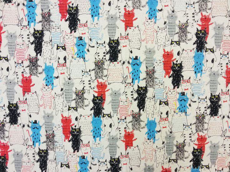 Cat Doodle Linen D43 £17.50 per metre