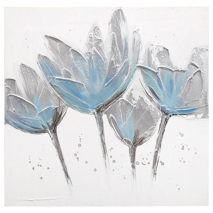 Tableau - Peinture à l'huile de fleurs bleus sarcelles/Tableaux/Décor mural|Bouclair.com