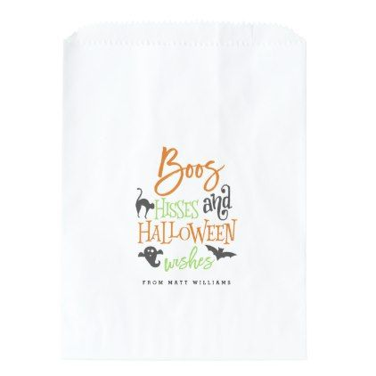 #Boos Hisses and Halloween Wishes Favor Bag - #Halloween #happyhalloween #festival #party #holiday