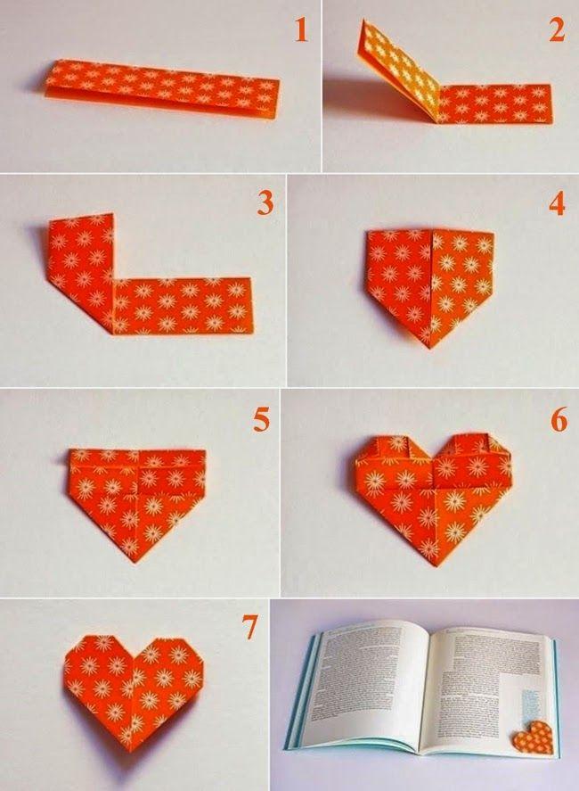 Comment Faire Un Coeur En Papier Facile #8: Voici Comment Faire Son Marque-page Cœur En Origami