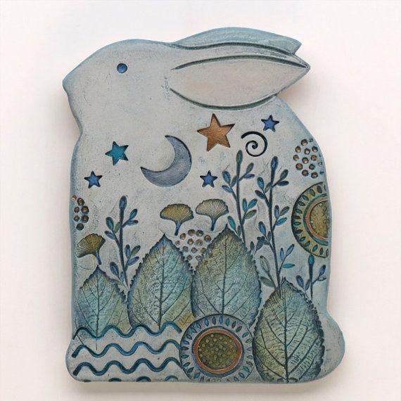 Rabbit, Clay bunny,Ceramic Rabbit,Home Decor, Nature Inspired, hand made, wall art