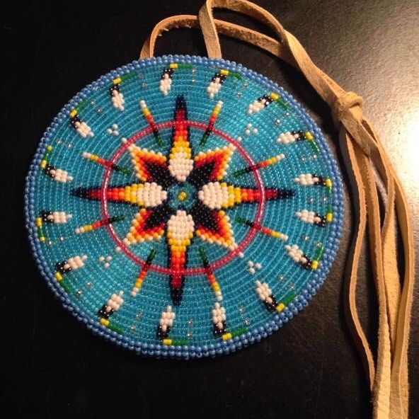 #nativebeadwork #beadedmedallion #oldwork #powwow #beadwork #katherineskreations