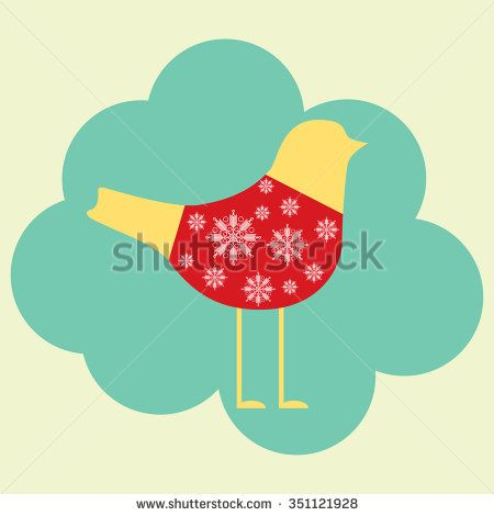 illustration of bird in sweater - stock vector