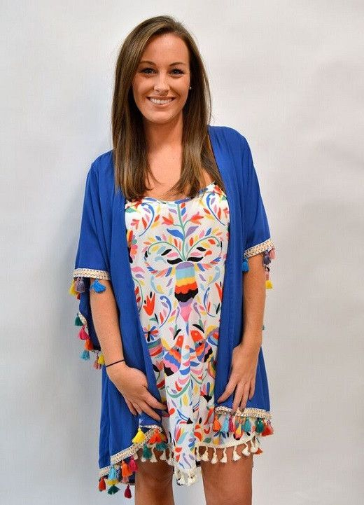 Judith March Kimono with Tassel Trim Detail-Blue
