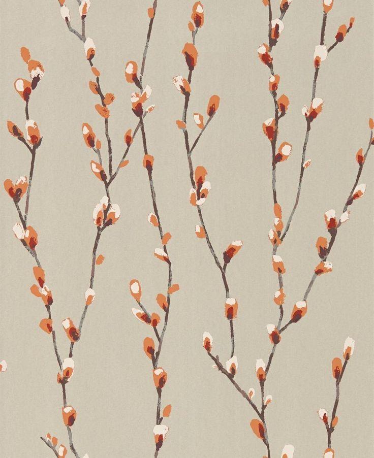 Salice Tangerine / Gilver wallpaper by Harlequin