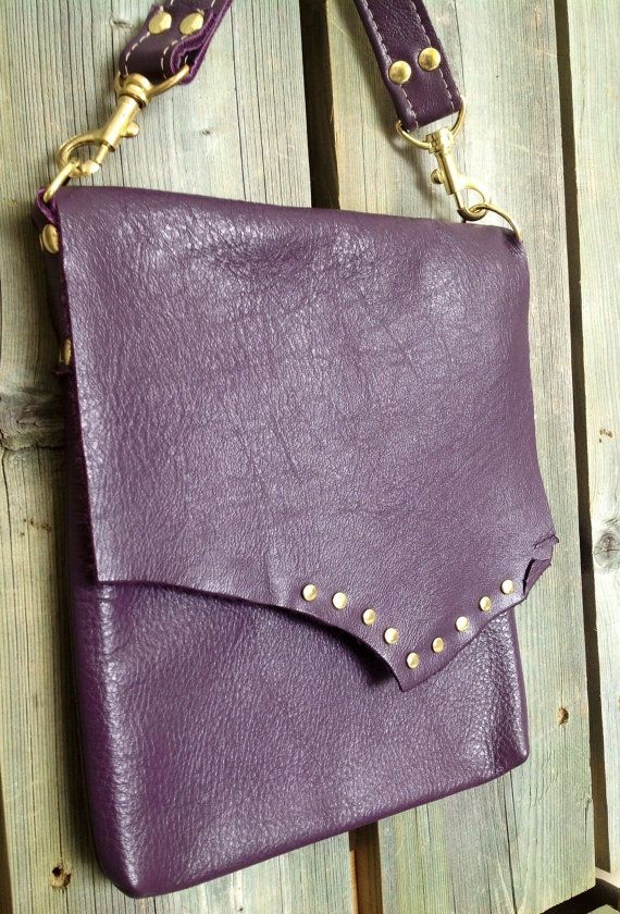 Eggplant Purple Leather Side Bag with Gold Studs on Raw Edge Flap and Soft Leather Strap by HeartnSoulHandbags, $185.00