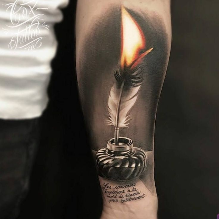"9,041 Likes, 40 Comments - TattooLoversShop (@tattooloversshop) on Instagram: ""Check out this amazing #Tattoo by #tattooartist @cox_tattoo  #fire #feather #feathertattoo…"""