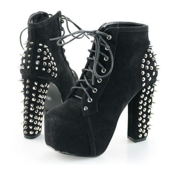 Womens Spike Studded Goth Punk Rock Platform High Heel Shoes Lace Up... ❤ liked on Polyvore featuring shoes, boots, ankle booties, gothic platform boots, ankle boots, lace up platform bootie, platform ankle boots and platform booties