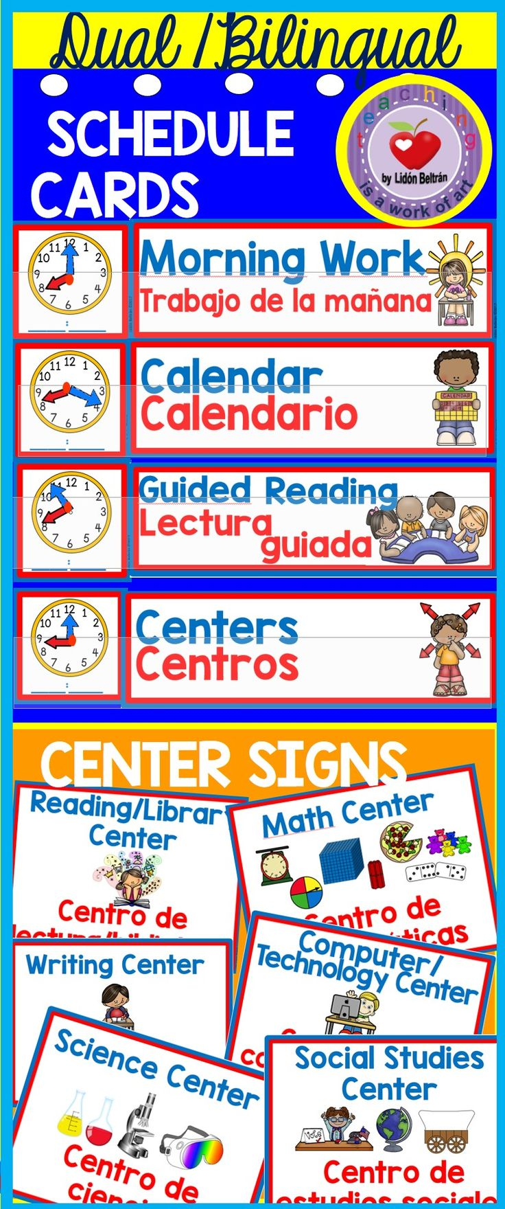 Dual/Bilingual Daily Schedule Cards and Center Signs. This set includes 24 Daily Schedule Cards and 10 Center Signs to organize your room and help bilingual students, newcomers and ELL students. The labels use Gómez&Gómez color codes (blue for English, red for Spanish).