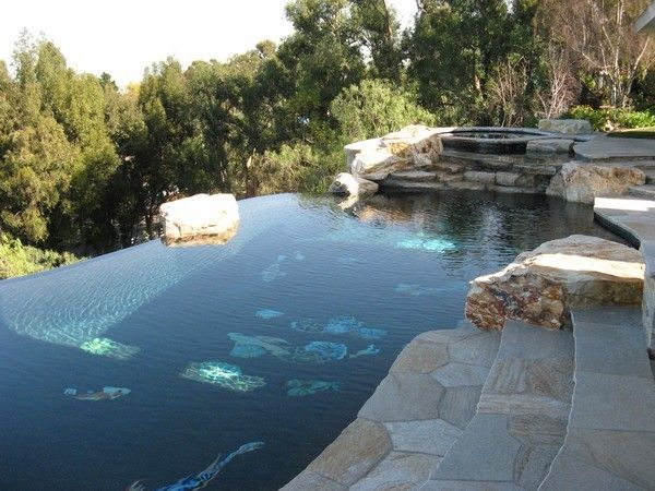 Exotic Infinity Pool Designs: Exotic Infinity Pool Designs With Natural  Stone Pool Flooring Design