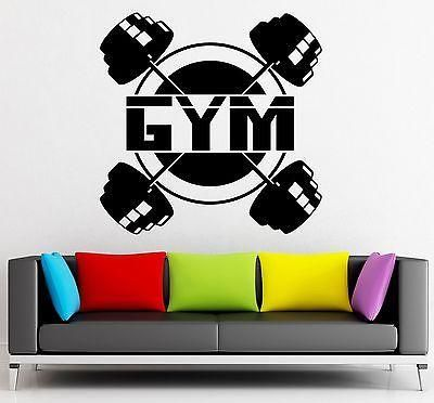Wall Sticker Vinyl Decal Powerlifting Gym Sport Bodybuilding Barbell Unique Gift (ig2192)