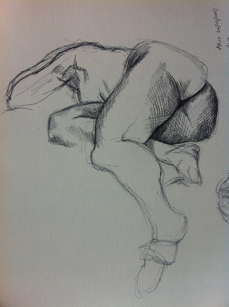 Life drawing in biro at ARU, 2007